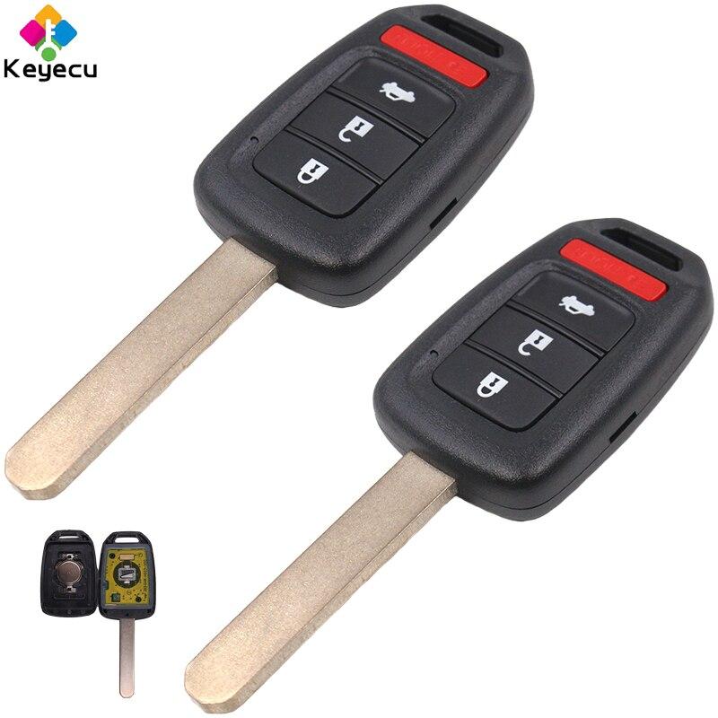 KEYECU paire clé de voiture à distance de remplacement-2/3/3 + 1/4 boutons & 433 MHz & ID47 puce-FOB pour Honda Accord Civic Fit MLBHLIK6-1T - 3