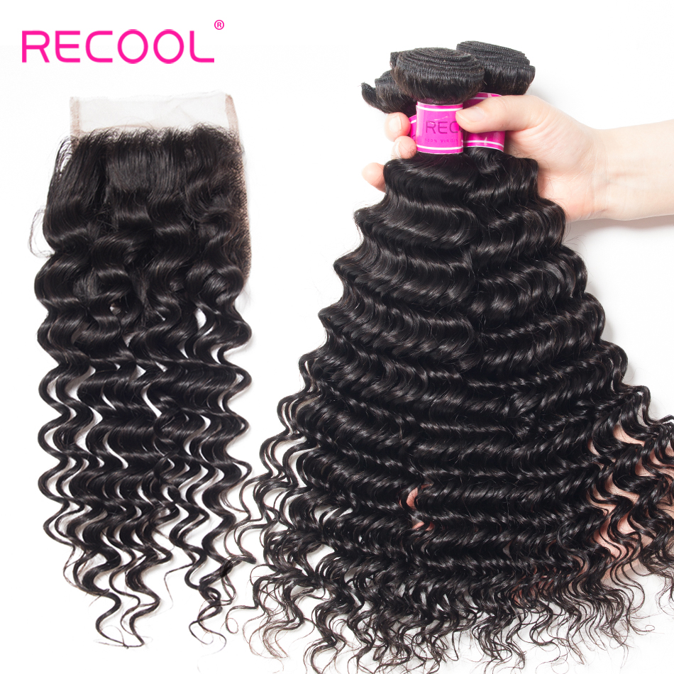 Recool Hair Brazilian Human Hair Bundles With Closure Remy Hair Weave 3 Bundles With Lace Closure