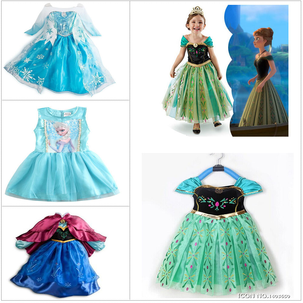 Fashion Green Custom Anna&Elsa Girls Princess Dress Kids Girl Vestidos Baby Children Cosplay Dresses Pincess Party Kids Dresses