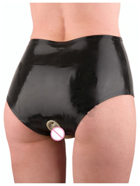 Sexy Womens Black Erotic Latex Rubber Short With Front -1876