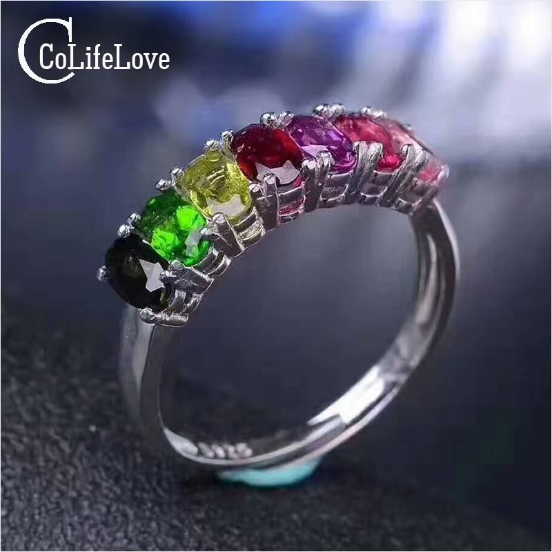 Мода Радуга кольцо 7 цветов натуральный турмалин серебряное кольцо одноцветное 925 серебро Турмалин Романтический День рождения подарок для...