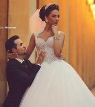 Luxuoso Vestido De Noiva 2018 Vestidos de Casamento Muçulmano vestido de Baile Tulle Pearls Ver Através de Dubai Árabe Do Vestido De Casamento Nupcial