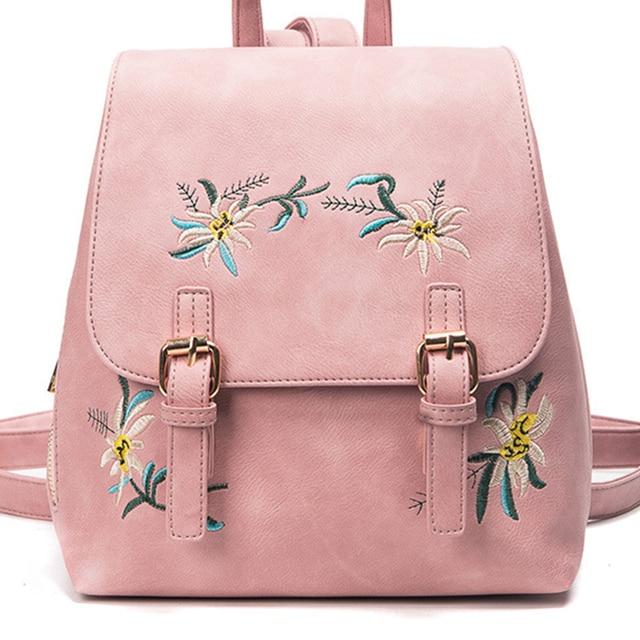 18e204c523b Aliexpress.com : Buy girls School Backpacks leather mini BackPack With  Embroidery for ladies female kawaii rucksack Anti Theft shoulder bag Women  bag ...