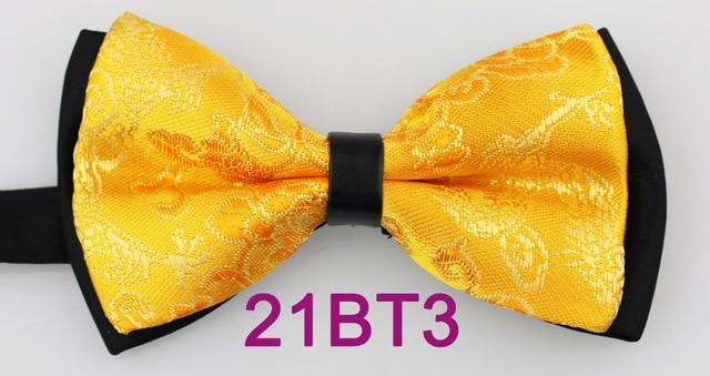 Yibei Coachella Cravates Noir Fond Jaune Or Noeuds Papillon Floral Arc  Cravates Jacquard Smoking Double Couche 94e9bf67002