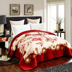Image 1 - שמיכת Raschel שכבה אחת פרחוני מודפס קשמיר בסגנון קוריאני משובץ חם רכה שמיכות מינק חורף גודל מלכת סדין למיטה חמה