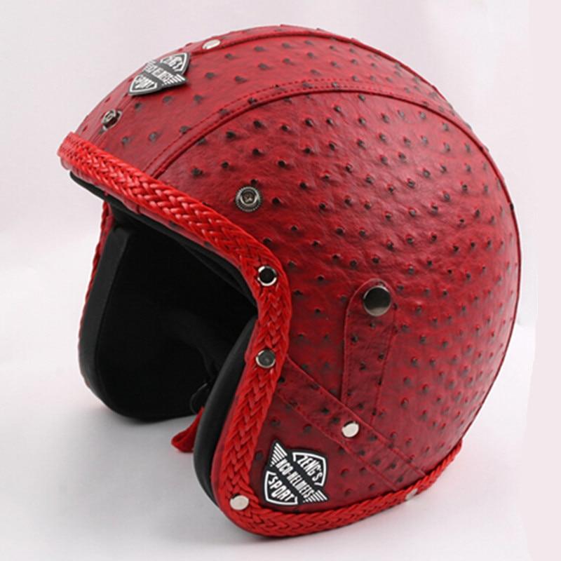 New Arrival Genuine Leather capacete vintage Motorcycle helmet handcrafted harley Open Face scooter Motorbike helmets