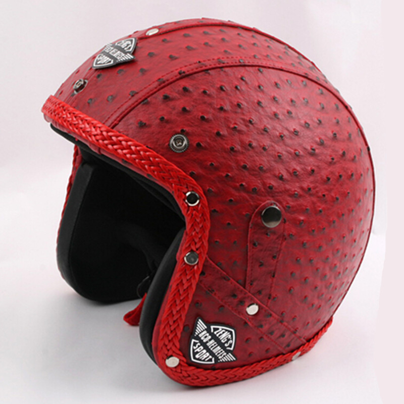 2015 New Arrival Capacete RED Genuine Leather Vintage Motorcycle Handcrafted Harley Motorbike Retro Open Face Scooter