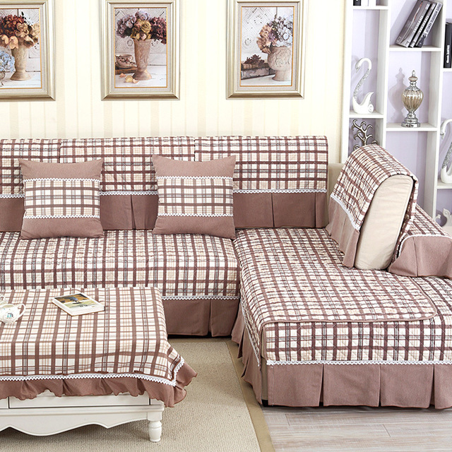 Settee Sofa Cheap: Plaid Cotton Modern Fitted Discount Slipcovers For