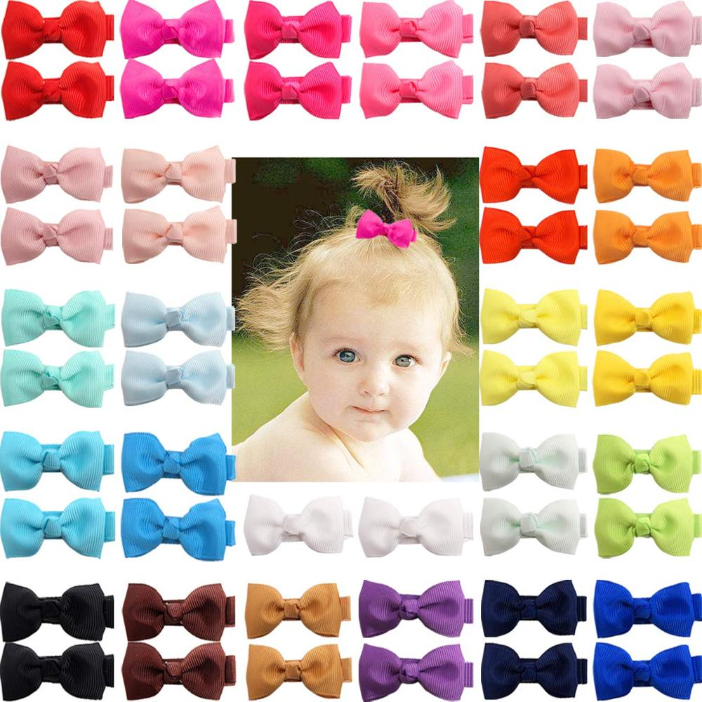 "50 Pieces  Fully Lined Hair Pins Tiny 2/"" Hair Bows Alligator Clips for Baby Girl"