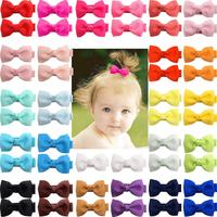 "50 Pieces 25 Colors Boutique Tiny Baby Bows Grosgrain 2"" Hair Bows Non-Slip Full Lined Alligator Clips for Baby Girls Toddlers"