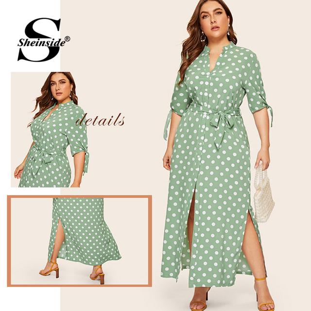 Sheinside Plus Size Polka Dot Print Straight Dress Women 2019 Summer Lace Up Half Sleeve Shirt Dresses Ladies Side Split Dress 5