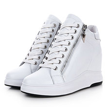 Women Wedged Sneakers Sports Shoes Height Increasing Genuine Leather Shoes Breathable High Platform Shoes Walking Sports Shoes