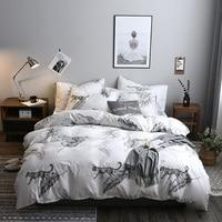 Black White Leopard Pattern 3/4Pcs Home Textiles Bedding Set Bedclothes Include Duvet Cover Set Bed Sheet Pillowcase Comforter