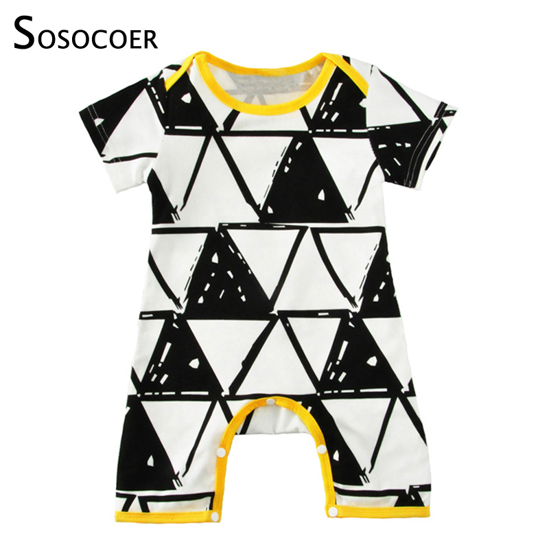 SOSOCOER Baby Boy Rompers Summer 2018 Cartoon Geometry Newborn Girl Jumpauit Baby Clothes Fashion Triangle Infant Romper Costume