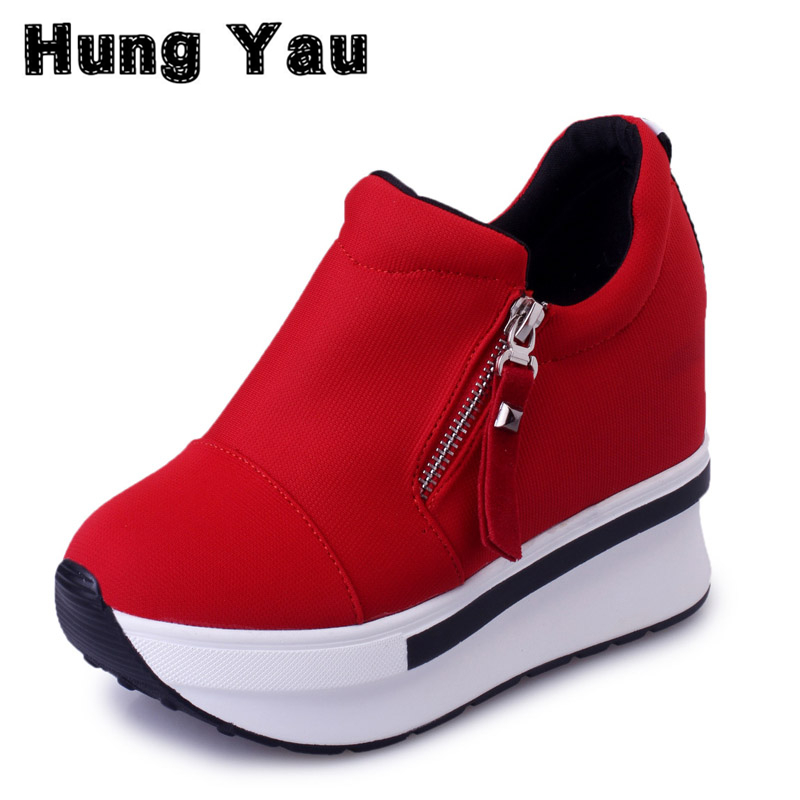 HungYau Wedges Sneaker Women Boots 2017 Platform Shoes Woman Creepers Zipper Ankle Boots Fashion Flats Casual Women Shoes Size 8 phyanic 2017 gladiator sandals gold silver shoes woman summer platform wedges glitters creepers casual women shoes phy3323