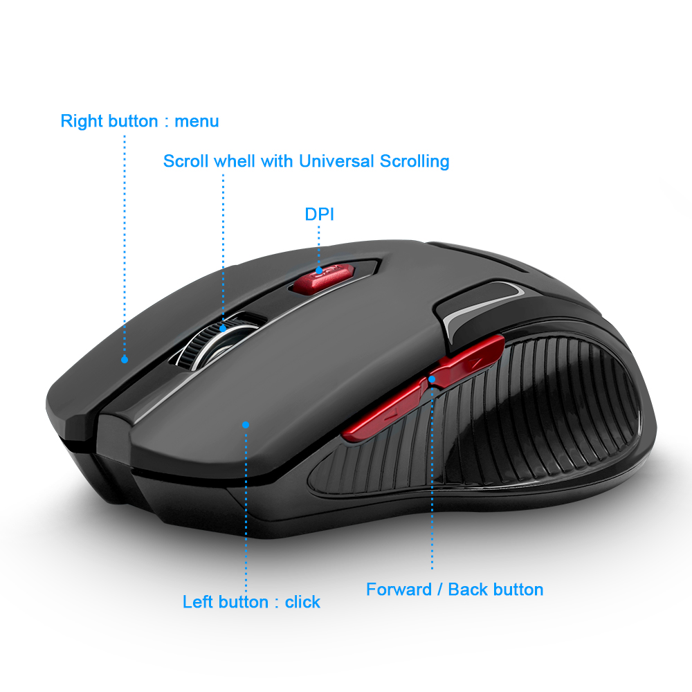 Image 2 - Rocketek USB Wireless Gaming Mouse 1600 DPI 6 buttons optical ergonomic for overwatch game laptop computer Mice-in Mice from Computer & Office