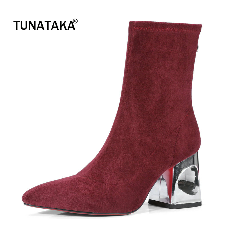 Suede Fretwork High Heel Zipper Woman Ankle Boots Fashion Pointed Toe Dress Ladies Boots Black Wine Red Gray