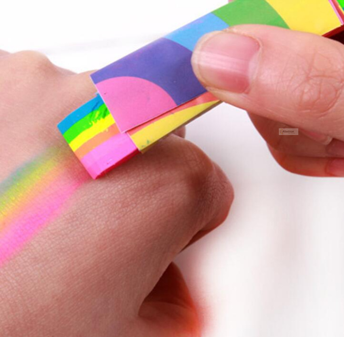 1pc Rainbow Body Painted Stick Colorful Tattoo Paint Pen Colored Child Kids Pen Face Pigment Halloween Party Fancy Tools