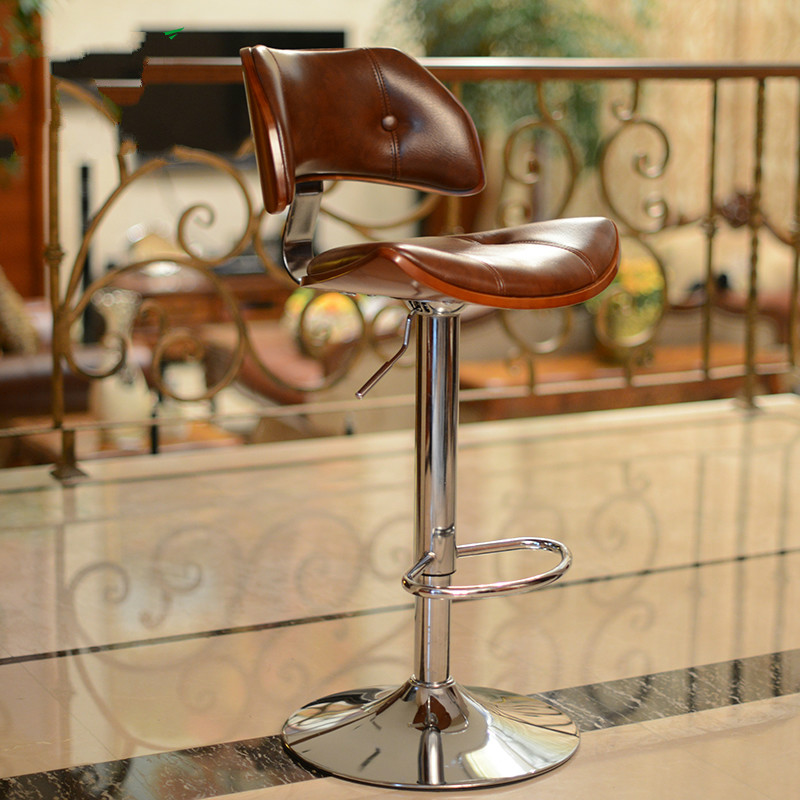 Bar Furniture Furniture Retro Design Lifting Swivel Bar Chair Rotating Adjustable Height Pub Bar Stool Chair Footrest Pu Material Reception Cadeira