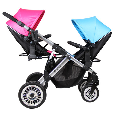 Twin Stroller Two Way Baby Stroller Light And Foldable Baby Umbrella carts Can Sit and lie trolley kds twin baby stroller high landscape two baby trolley hand double fold front and rear can lie luxury umbrella carts