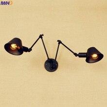 Lampen Swing Lange Arm Wandlamp Armaturen 2 Heads Loft Industriële Wandlamp Vintage Blaker Edison LED Stair Lights Arandela