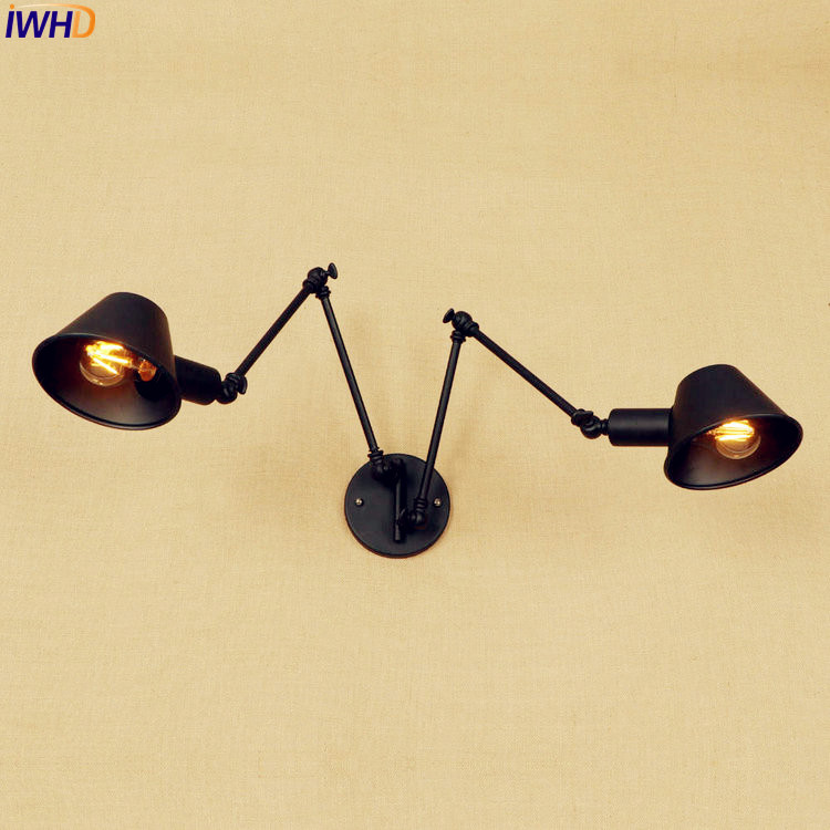 Lampen Swing Long Arm Wall Light Fixtures 2 Heads Loft Industrial Wall Lamp Vintage Sconce Edison LED Stair Lights Arandela loft nordic vintage wall lamp classic black art sconce decorative light adjustable arandela led swing 2 arm wall lights reading
