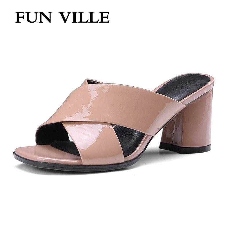 FUN VILLE 2018 Summer New Fashion Women Slippers Genuine Leather high heels cross tied shoes woman sexy ladies shoes size 34-42 playmobil 5266 summer fun детский клуб с танц площадкой