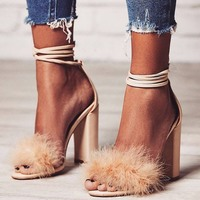 New Design Nude Pink Black Suede Fur Sandals Lace Up Thick High Heels Dress Shoes Strappy