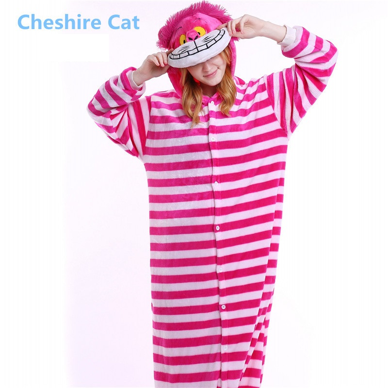 Winter Cartoon Animal Pyjama Flannel Sleepwear Hooded Pajamas For Women Adult Character Unicorn Bear Pink Cheshire Cat Costume