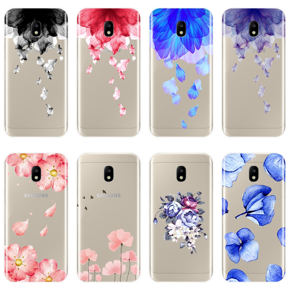 Soft Phone Case Silicone For Samsung Galaxy J4 J6 J8 Plus Flower Back Cover For Samsung J3 J5 J7 2015 2016 2017 J2 J5 J7 Prime image