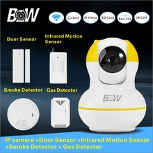 Security Alarm System Camera IP Surveillance System Email Alert Wifi Cam CCTV Monitor Detector With Linking Alarm Sensor BW12Y