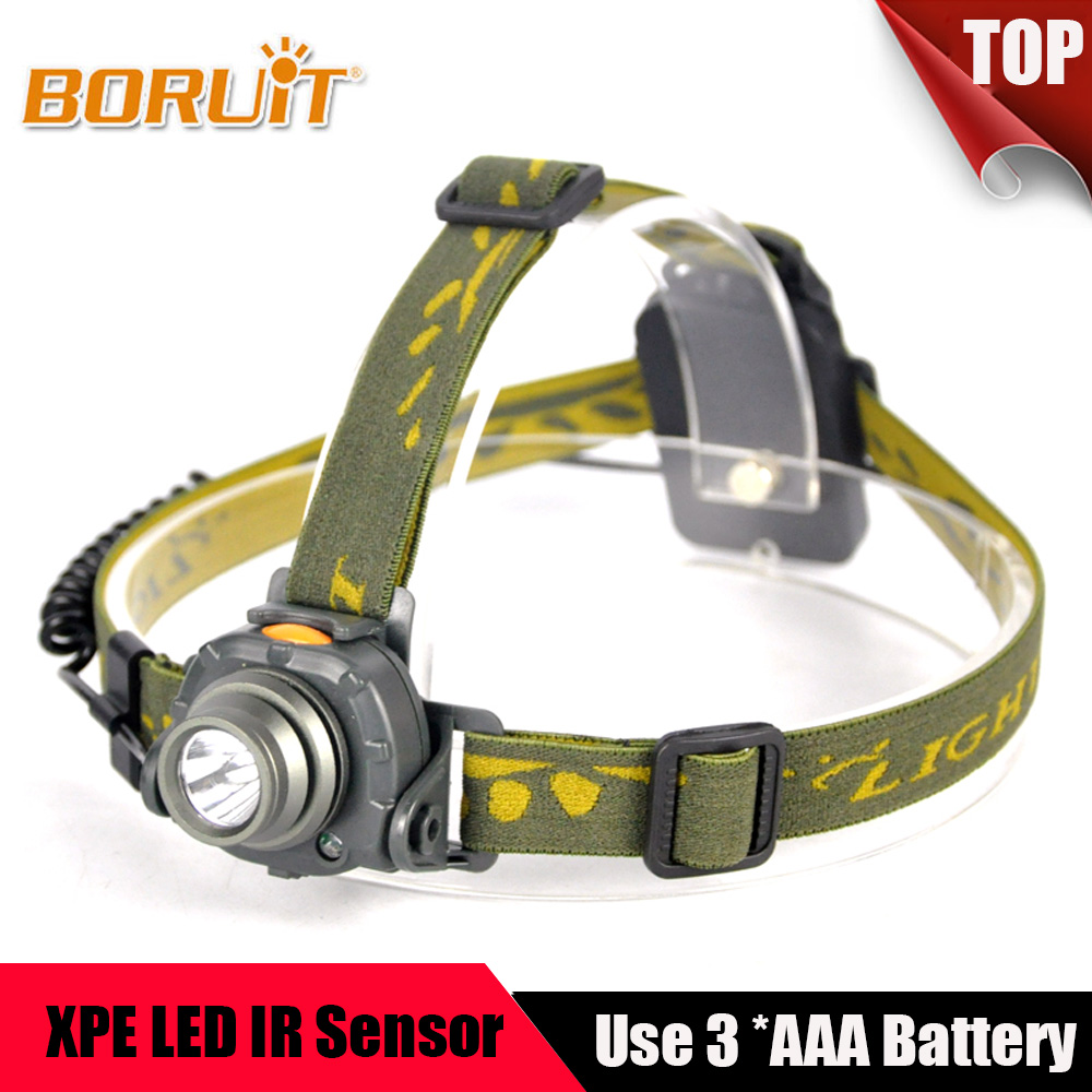 BORUIT 2000LM XPE LED Phare IR Capteur 3 Modes Phare Lanterne Camping Chasse Pêche 100 m Distance AAA Batterie Tête torche