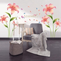 Pink Flower Pattern Wall Decals for Home Decorations Decoracao PVC Demovable Wall Stickers Living room 60x90cm CP0402