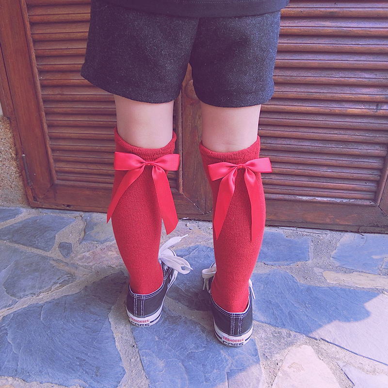 Children Long Socks Knee High Cute Solid Color Infant Baby Socks With Bows Warm Cotton Socks For Girls Knee Sock High Quality