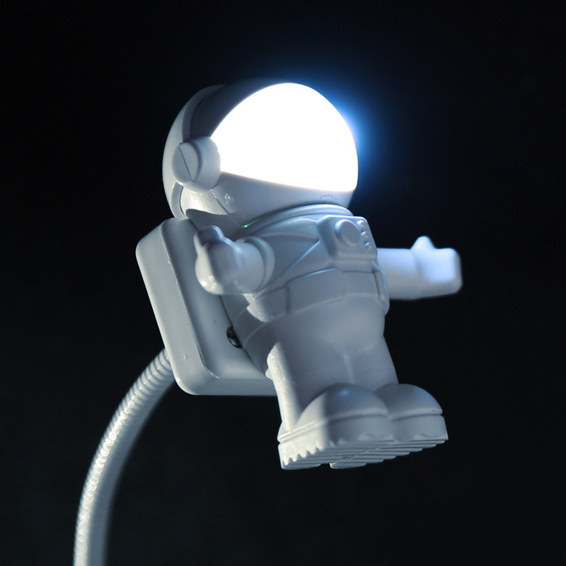 Hvid Fleksibel Spaceman Spaceman USB Tube LED Night Light Lamp til Computer PC Laptop Reading Book Bærbar DC 5 V