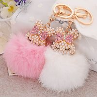 Cute Rabbit Pearl Keychain Full Rhinestone Crystal Keyring Car Key Chain Women Key Holder Ring Bague