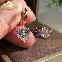18K Gold A pair of Earrings 1CT D Color Moissanite Earrings For Women M 0.8