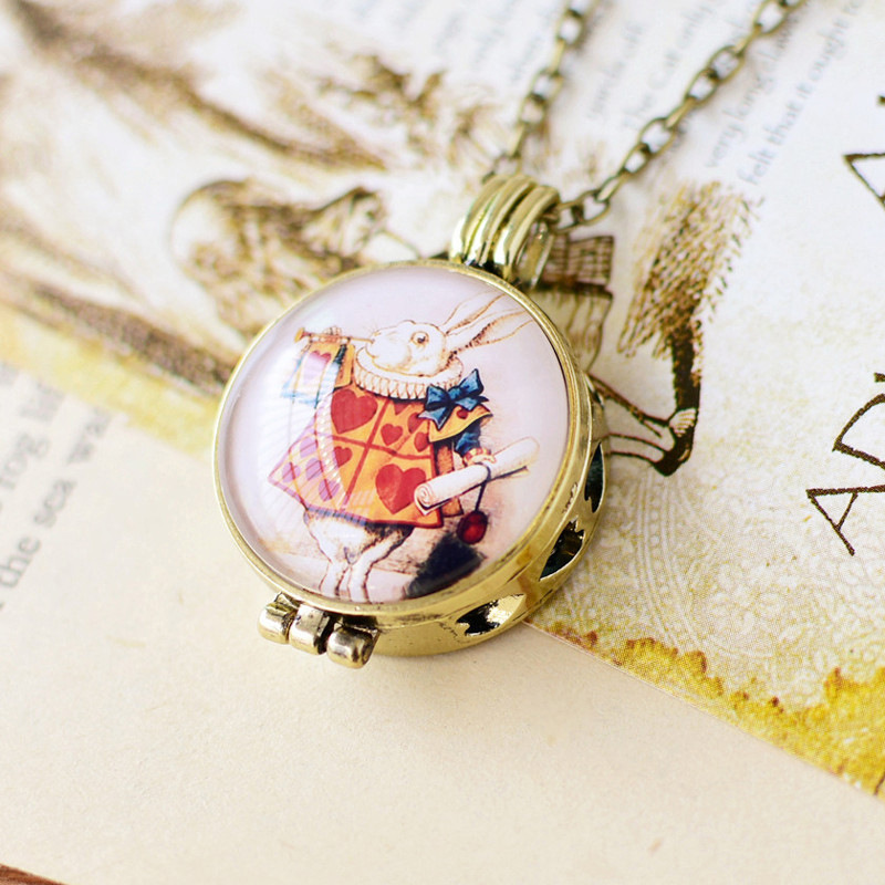 Kids Girls Special Gifts Essential Oil Diffuser Necklace Alice In Wonderland Mr The White Rabbit Glass Pendant Necklace