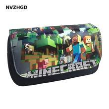 Получить скидку Новый бестселлер мозаика мультфильм игры мой мир 3D Карандаш сумка школьные канцелярские принадлежности большая емкость двойной Карандаш сумка
