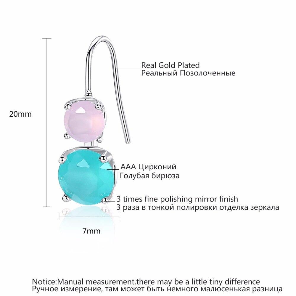 LUOTEEMI New Simple Design Cute Drop Earrings Double Round Pink Green CZ Pendant Ear Hook Best Gift for Girl Friends Jewelry in Drop Earrings from Jewelry Accessories