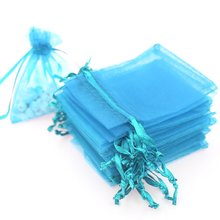 METABLE 100PCS (10x15cm) Drawstring Organza Jewelry Favor Pouches Wedding Party Festival Gift Bags Candy (BLUE)