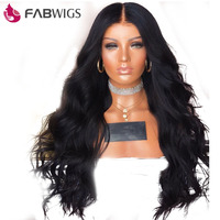 Fabwigs 250% Density Lace Front Human Hair Wigs with Baby Hair Brazilian Remy Body Wave Lace Front Wig for Women Natural Black