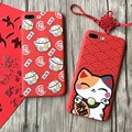 """Chinese new year Japanese Cute Cartoon Lucky Cat TPU Case for Apple iPhone 6 6S 4.7"""" 7 7plus lovely bear Phone Case Cover"""