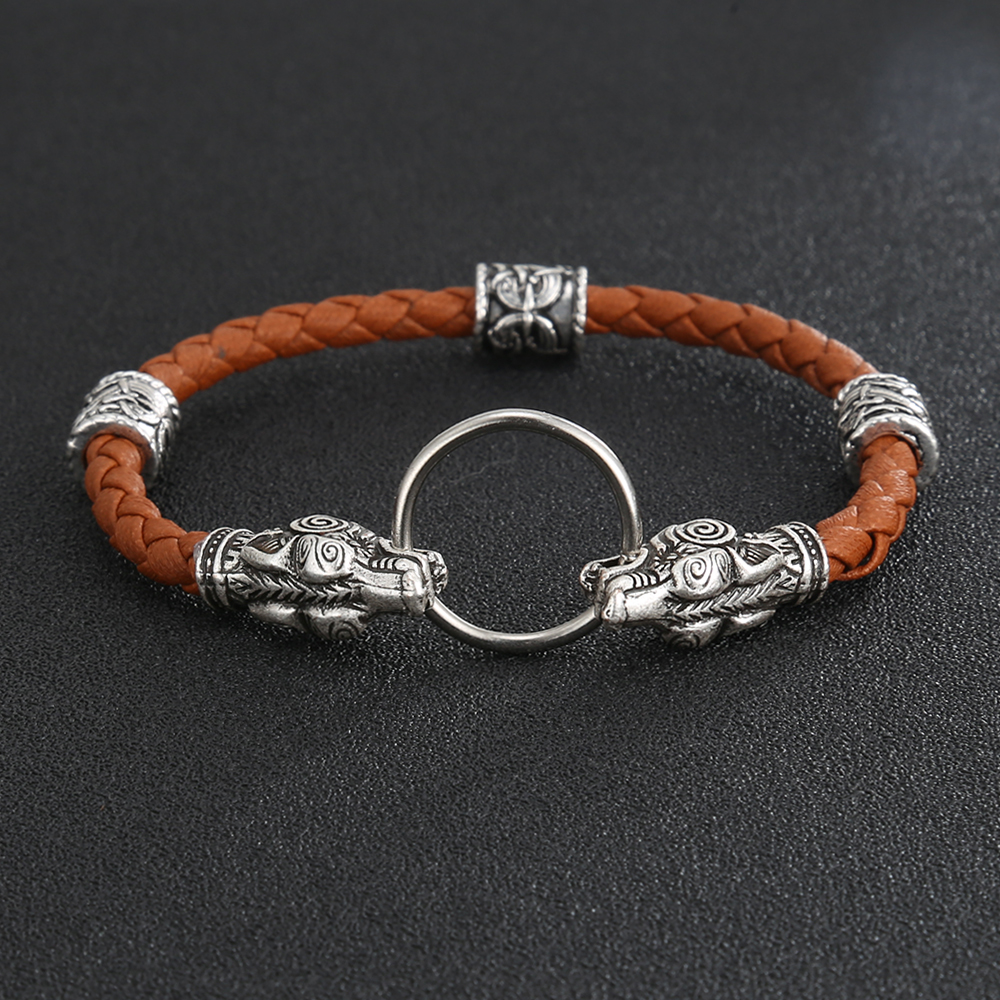 Viking Runes Eagle Bird Amulet Talisman Vikings Bead Walf Head Bracelet Leather Wristband Bangle For Men Jewelry Gift ...