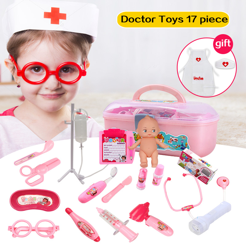 Huanger 17pcs Doctor Play Toys Set Doctora Juguetes for Child Medical Kit Baby Educational Box Light Role Pretend Classic Gift