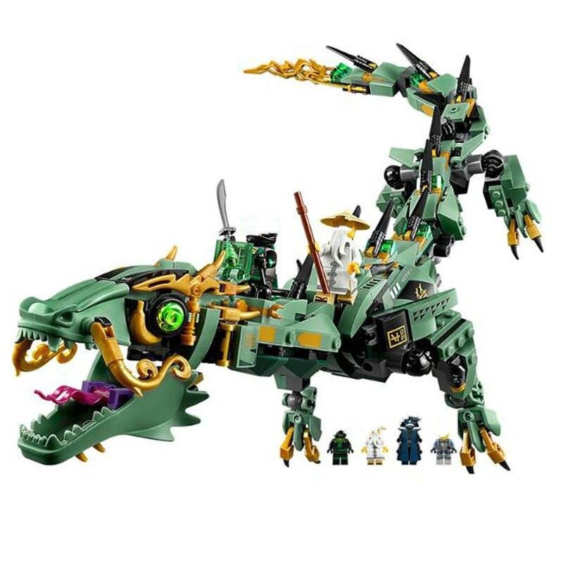 592 unids Ninja Legoings Ninjagoed volando Mecha dragón bloques de construcción ladrillos juguetes modelo Ninja de figuras de acción juguetes regalos