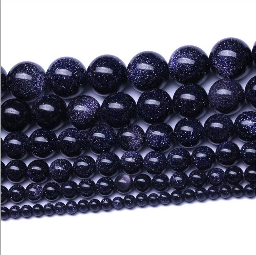 1strand Natural Stone Beads Round Dark Blue Sands Stone Loose Beads For DIY Women Men Bracelets Jewelry Gifts 2 3 4 6 8 10 12mm in Beads from Jewelry Accessories