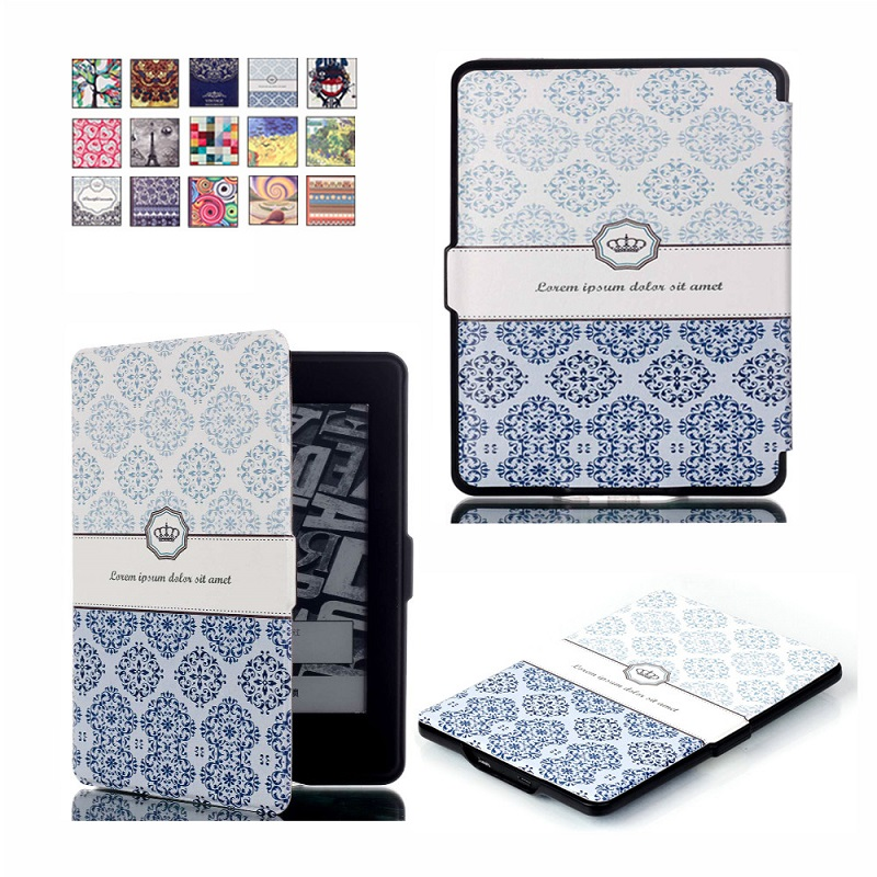 Case for kindle Paperwhite 1 2 3 Ultra thin Smart PU Leather ebook Sleeve Fashion Painting Protective Cover Case Auto Sleep pu leather ebook case for kindle paperwhite paper white 1 2 3 2015 ultra slim hard shell flip cover crazy horse lines wake sleep