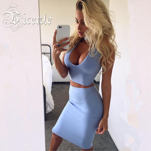 2018 Hot Free shipping! Must Have Solid Color Fashion Choker Deep Vneck Two-pieces Set Celebrity Wear Bandage Dress