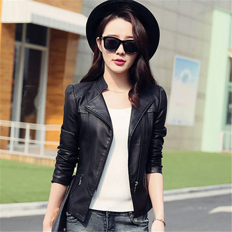 Leather   Jacket Women Black Gray S-3XL Korean Short Slim PU Coats 2019 New Spring Autumn Office Zipper Pockets   Leather   Coat CX786
